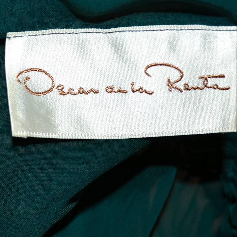 Women's or Men's Oscar de la Renta Green Sequin Pants & Keyhole Poet Blouse Evening Outfit  For Sale