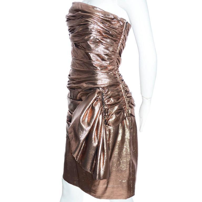 Women's 1980s Vicky Tiel Vintage Silk Lurex Metallic Bronze Strapless Dress Size 6 For Sale