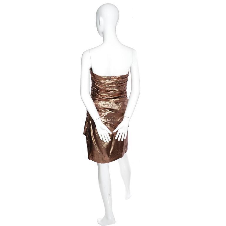 1980s Vicky Tiel Vintage Silk Lurex Metallic Bronze Strapless Dress Size 6 For Sale 1