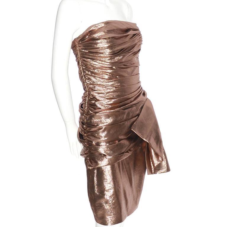 Brown 1980s Vicky Tiel Vintage Silk Lurex Metallic Bronze Strapless Dress Size 6 For Sale
