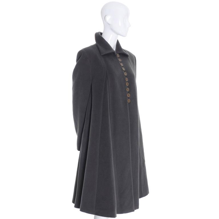 Black Giorgio Armani Vintage Swing Coat Gray Cashmere Wool Angora Vestimenta Spa For Sale
