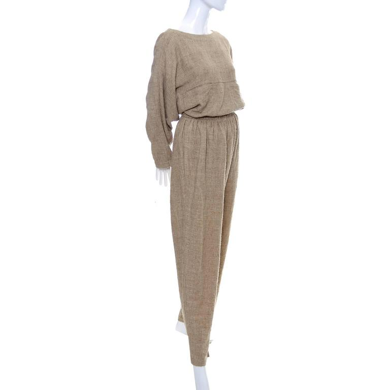 Vintage Issey Miyake Textured Cotton Tunic High Waist Pants Outfit 1980s Medium 7