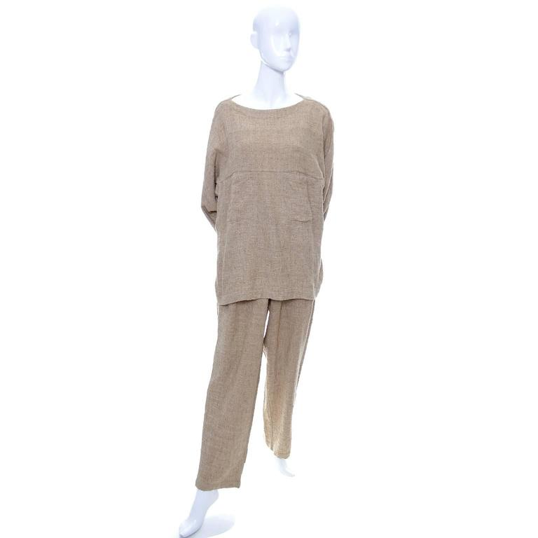 Vintage Issey Miyake Textured Cotton Tunic High Waist Pants Outfit 1980s Medium 6