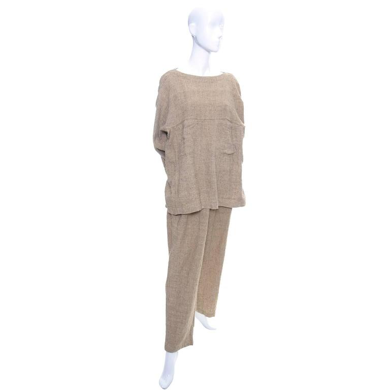 Vintage Issey Miyake Textured Cotton Tunic High Waist Pants Outfit 1980s Medium 2