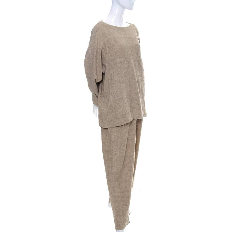 Vintage Issey Miyake Textured Cotton Tunic High Waist Pants Outfit 1980s Medium 3