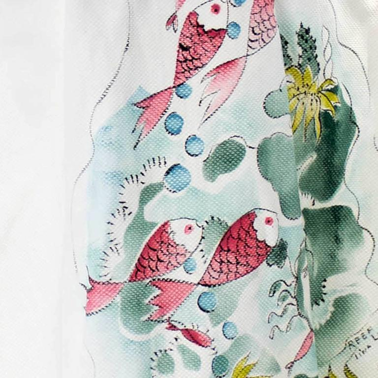 Rare Vintage Tina Leser Hand Painted Dress 1940s Fish Reef Halter Signed 6