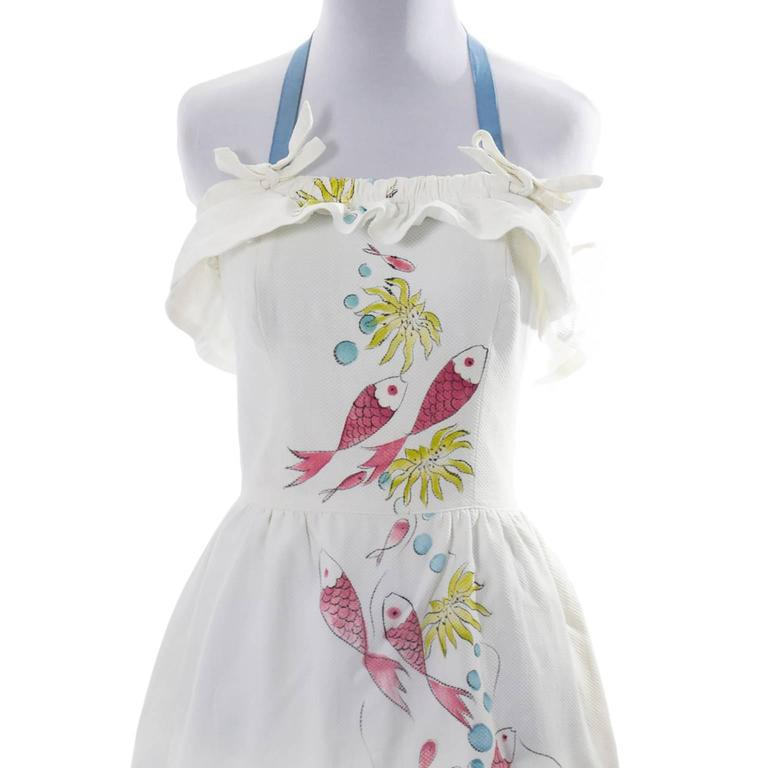 Rare Vintage Tina Leser Hand Painted Dress 1940s Fish Reef Halter Signed 4