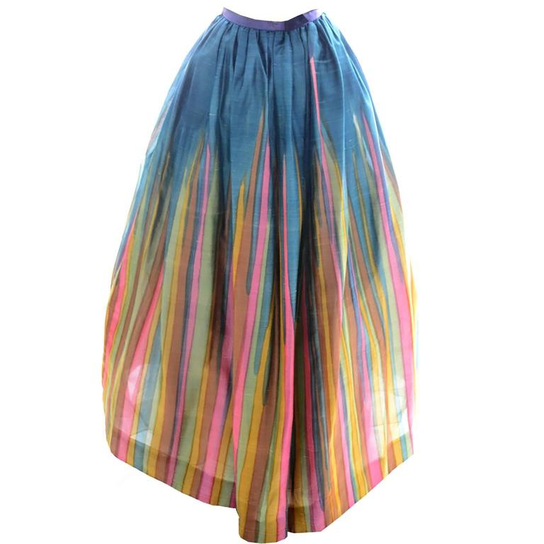 Vintage Long Silk Skirt in Watercolor Stripe Print from Exceptional Estate 2