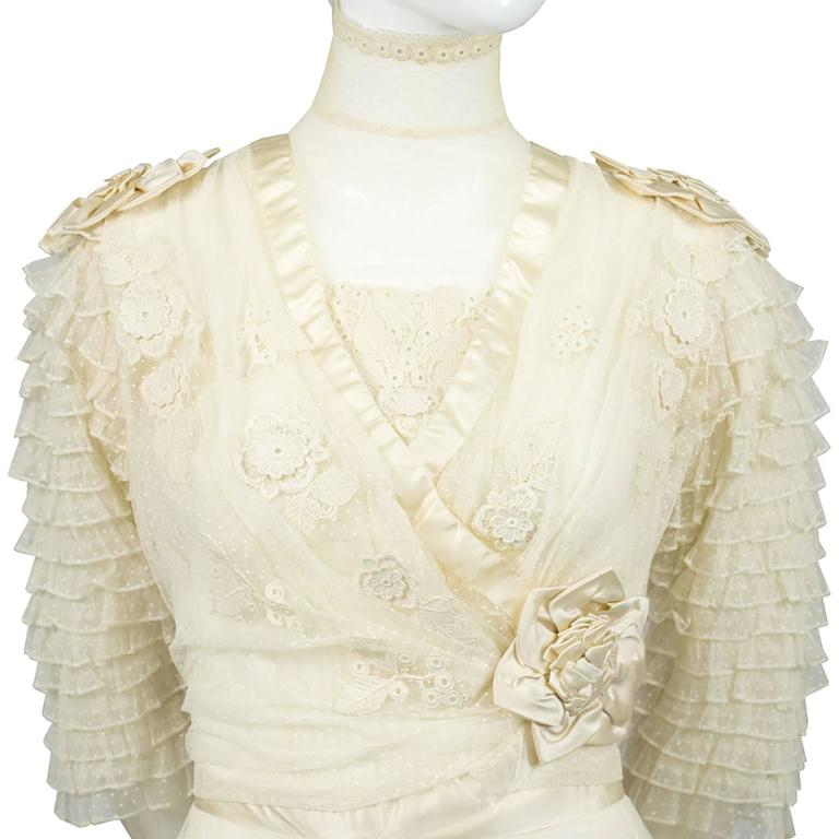 Edwardian Fine Lace Vintage Wedding Gown Veil Silk Roses