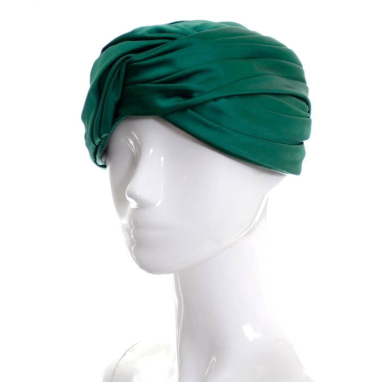 440dd2d9 Vintage Christian Dior Hat Miss Dior Green Satin Turban style Chapeau 1960s  In Excellent Condition For