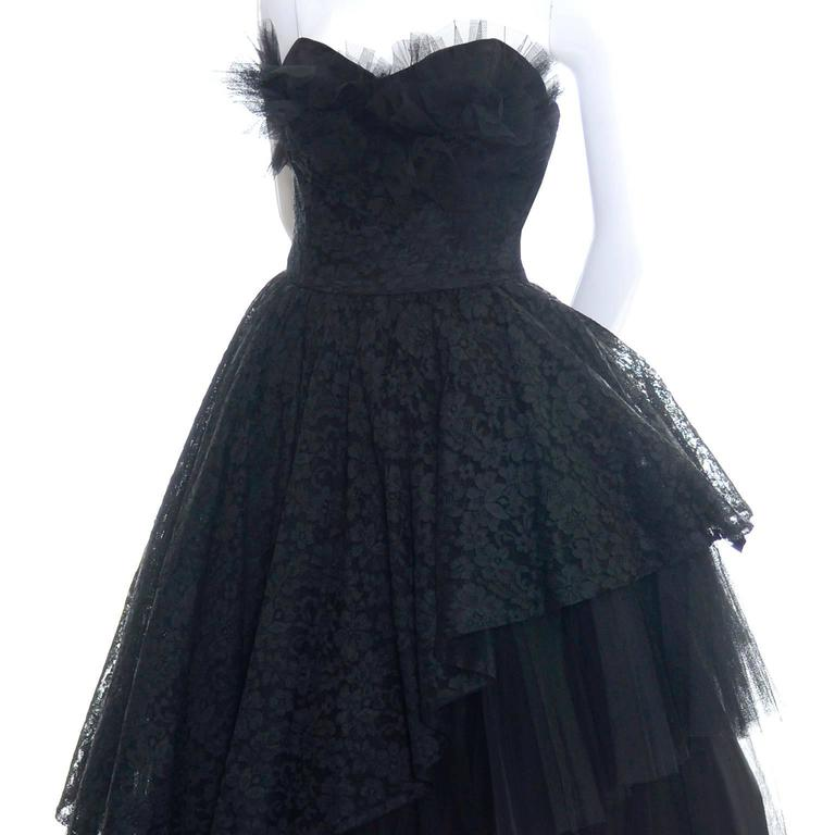 1950s Vintage Dress Emma Domb Black Lace Tulle Strapless Party Dress For Sale 1