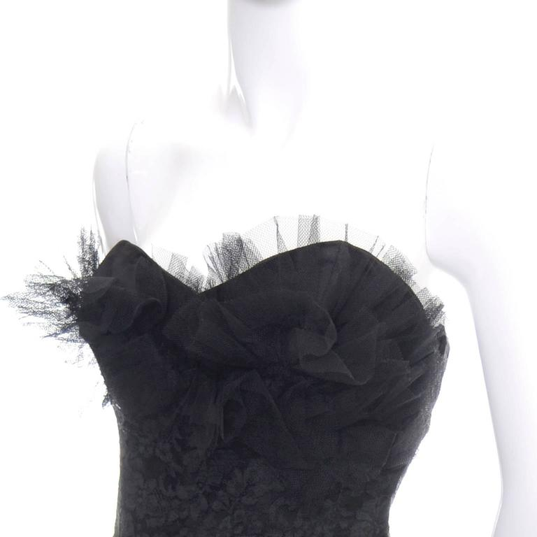 1950s Vintage Dress Emma Domb Black Lace Tulle Strapless Party Dress 3