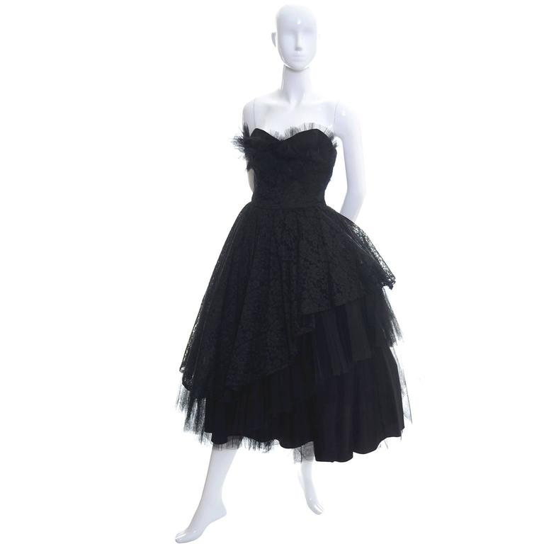 Women's 1950s Vintage Dress Emma Domb Black Lace Tulle Strapless Party Dress For Sale
