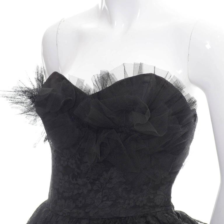 1950s Vintage Dress Emma Domb Black Lace Tulle Strapless Party Dress 7