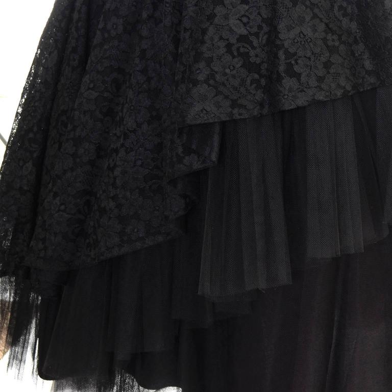 1950s Vintage Dress Emma Domb Black Lace Tulle Strapless Party Dress For Sale 4