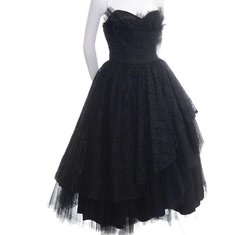 1950s Vintage Dress Emma Domb Black Lace Tulle Strapless Party Dress For Sale 2
