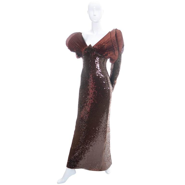 Loris Azzaro Vintage Dress 1980s Avant Garde Sequins Statement Evening Gown In Excellent Condition For Sale In Portland, OR