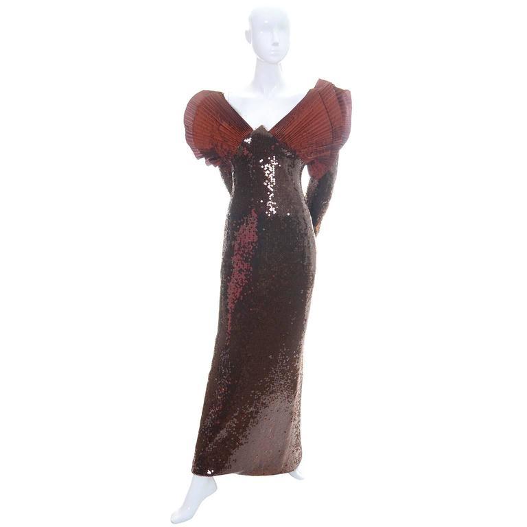 Loris Azzaro Vintage Dress 1980s Avant Garde Sequins Statement Evening Gown 5