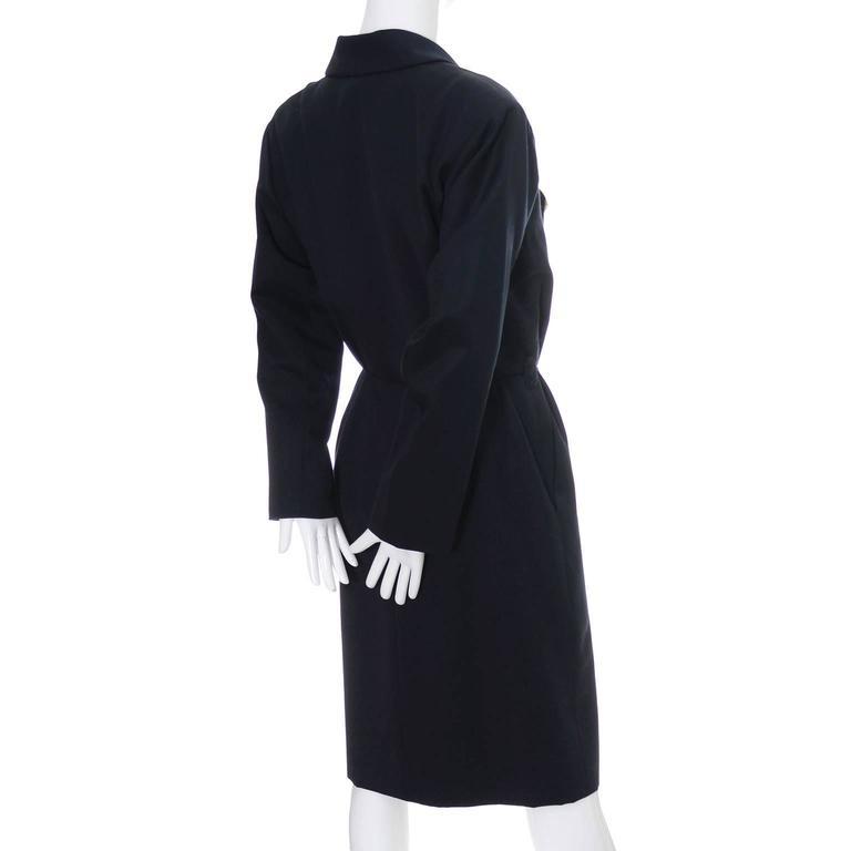 Yves Saint Laurent Vintage YSL Dress Navy Crystal Buttons Saks Fifth Avenue For Sale 2