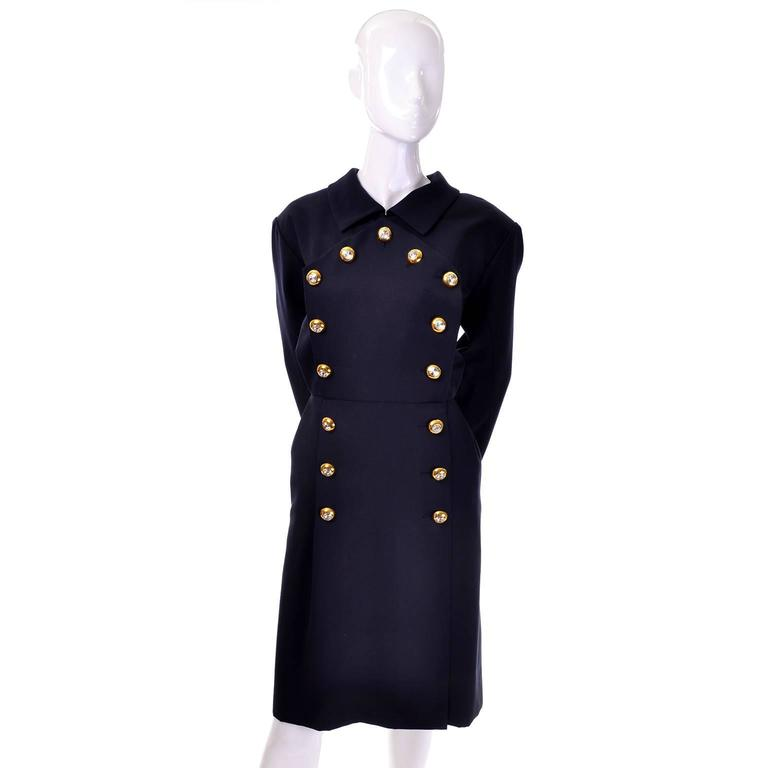 Black Yves Saint Laurent Vintage YSL Dress Navy Crystal Buttons Saks Fifth Avenue For Sale