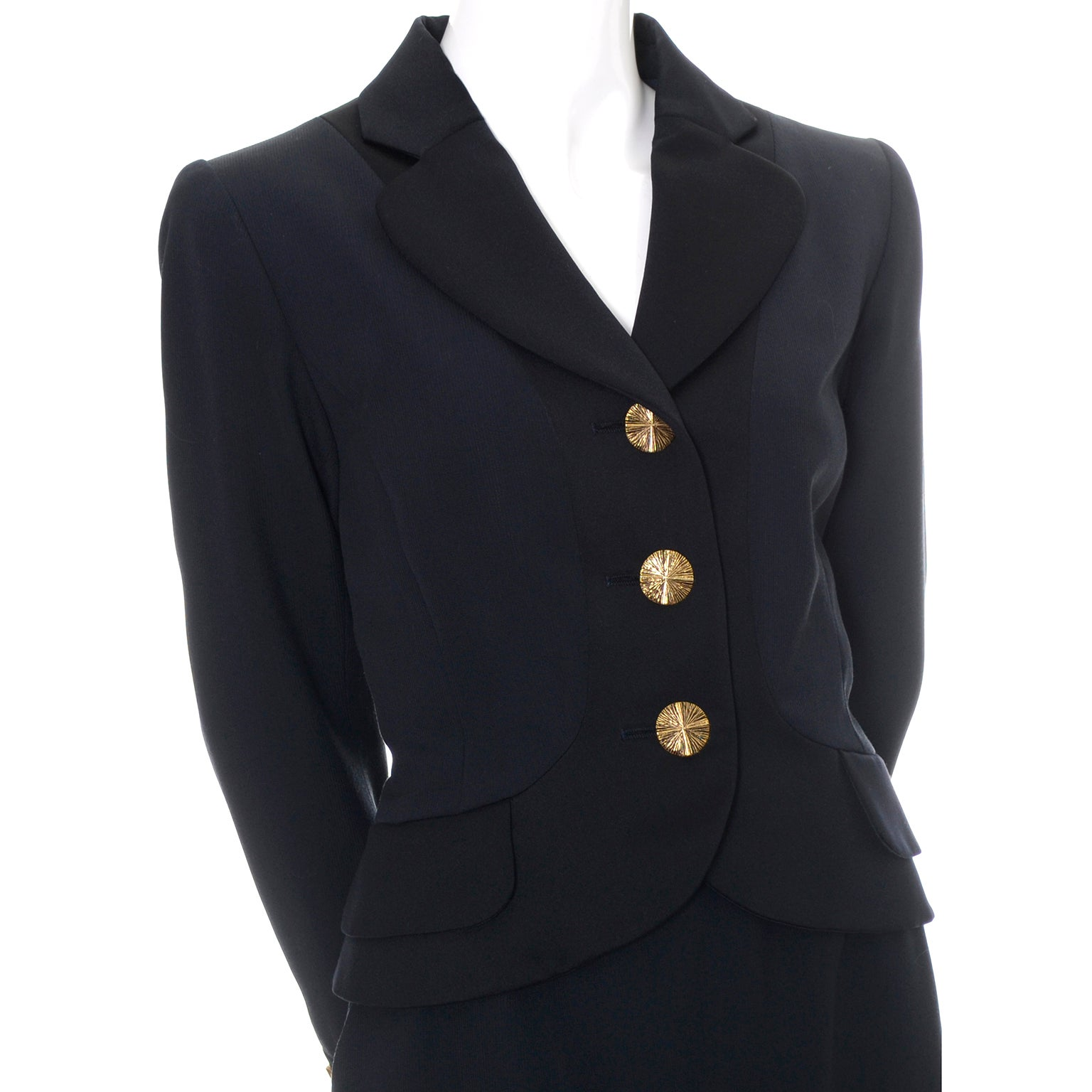 cf8e34830b1 YSL Yves Saint Laurent Vintage Suit Midnight Blue Black Satin w Blazer and  Skirt For Sale at 1stdibs