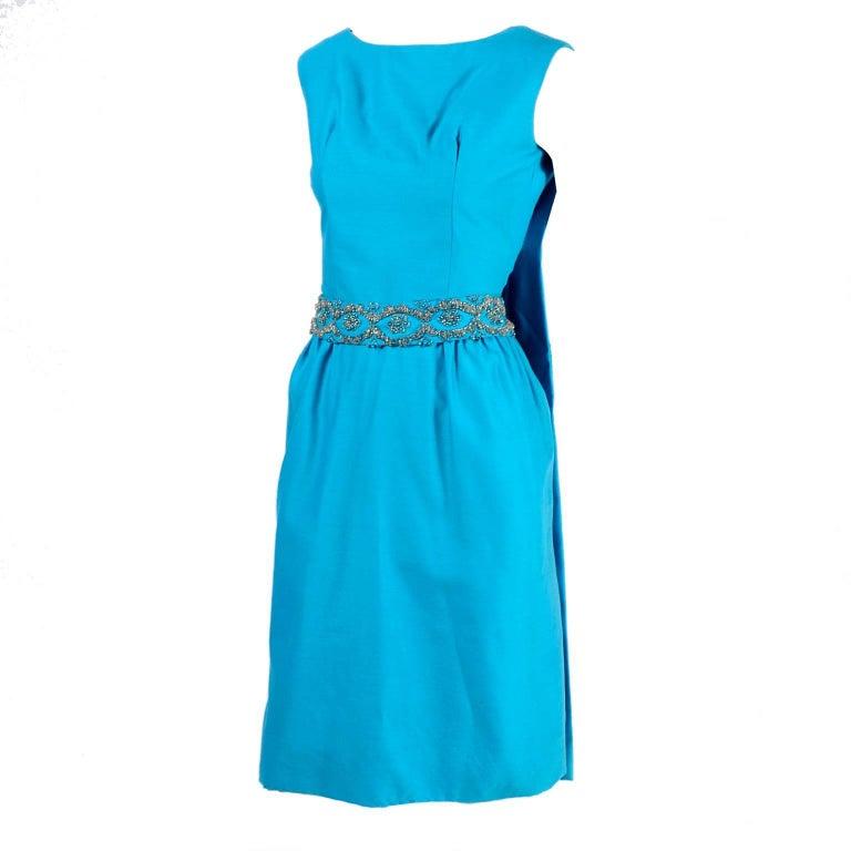 Blue Silk Beaded Suzy Perette Vintage Cape Dress W/ Removable Back Panel