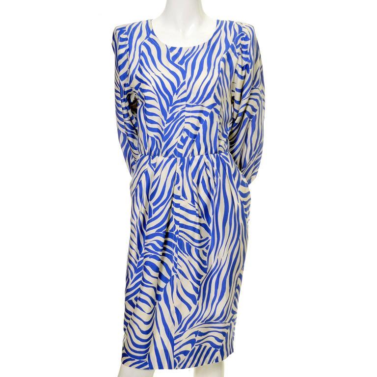 1980s YSL Vintage Dress Yves Saint Laurent Abstract Bold Zebra Print Blue Sz 36 For Sale 1