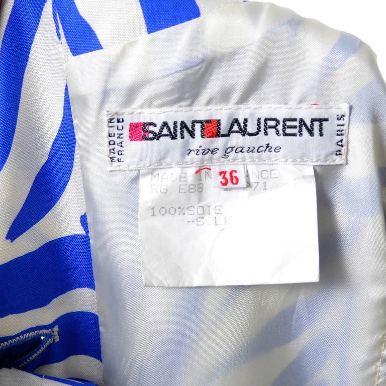 1980s YSL Vintage Dress Yves Saint Laurent Abstract Bold Zebra Print Blue Sz 36 For Sale 3