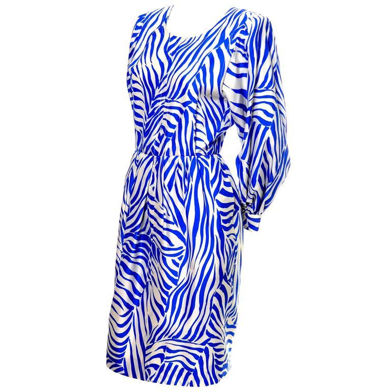 1980s YSL Vintage Dress Yves Saint Laurent Abstract Bold Zebra Print Blue Sz 36 For Sale