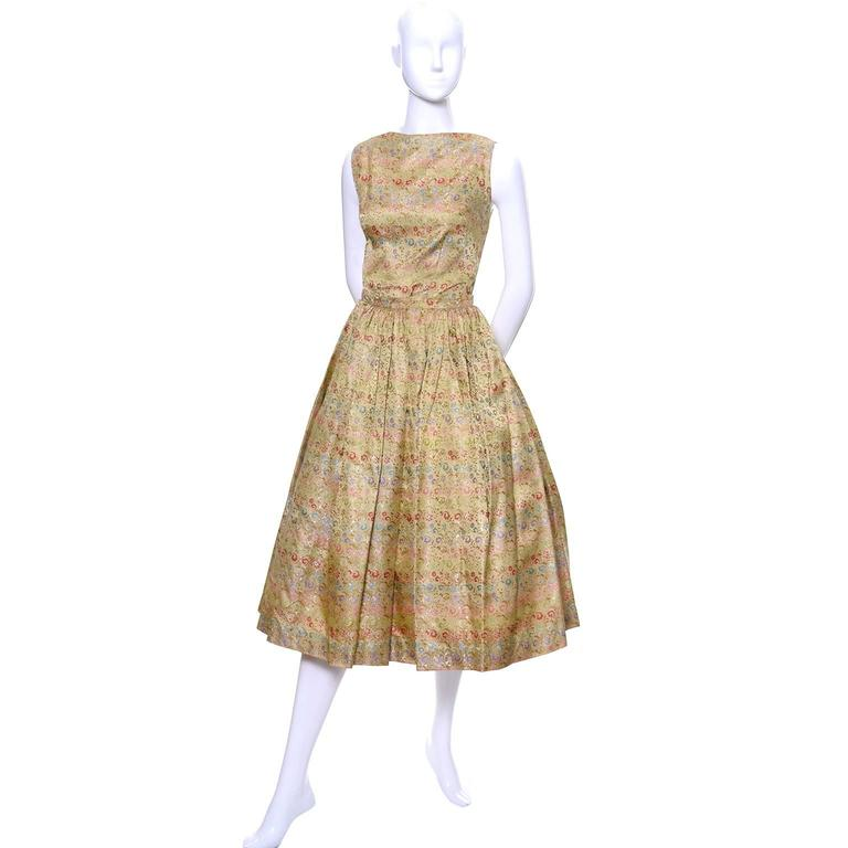Brown 1950s 2 pc Vintage Dress Nelly de Grab New York Gold Brocade Floral Skirt Top For Sale