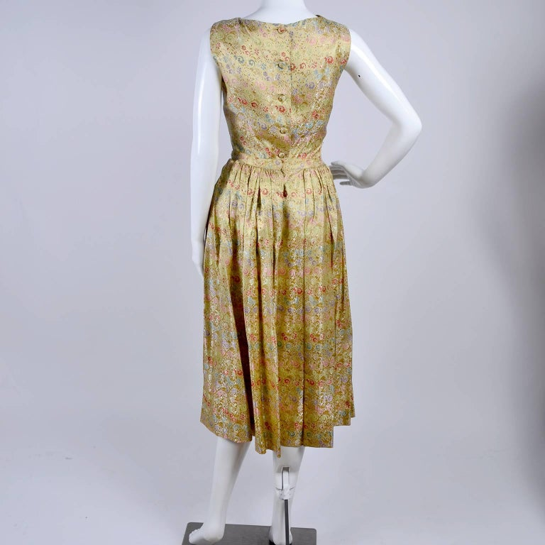 Women's 1950s 2 pc Vintage Dress Nelly de Grab New York Gold Brocade Floral Skirt Top For Sale