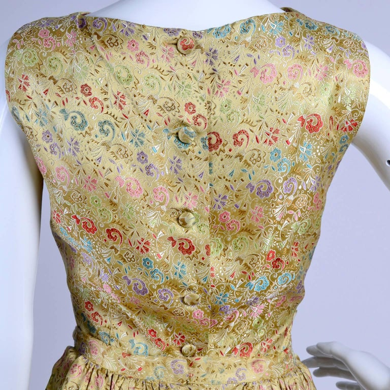 1950s 2 pc Vintage Dress Nelly de Grab New York Gold Brocade Floral Skirt Top For Sale 1