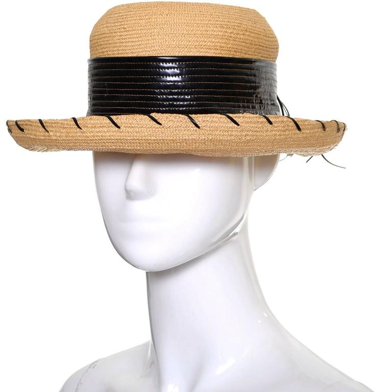 Beige Schiaparelli 1960s Vintage Hat Straw Black Vinyl Laces  For Sale