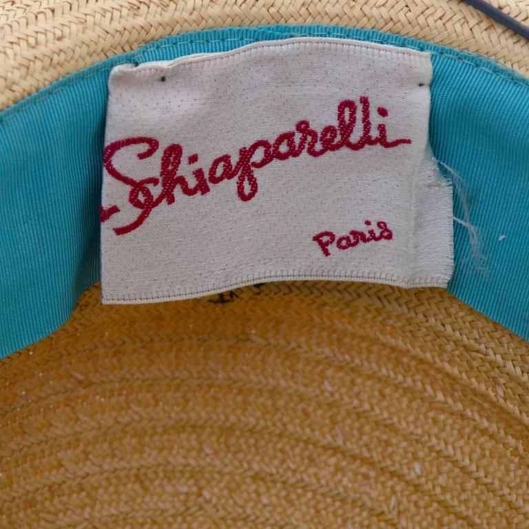 Schiaparelli 1960s Vintage Hat Straw Black Vinyl Laces  In Excellent Condition For Sale In Portland, OR