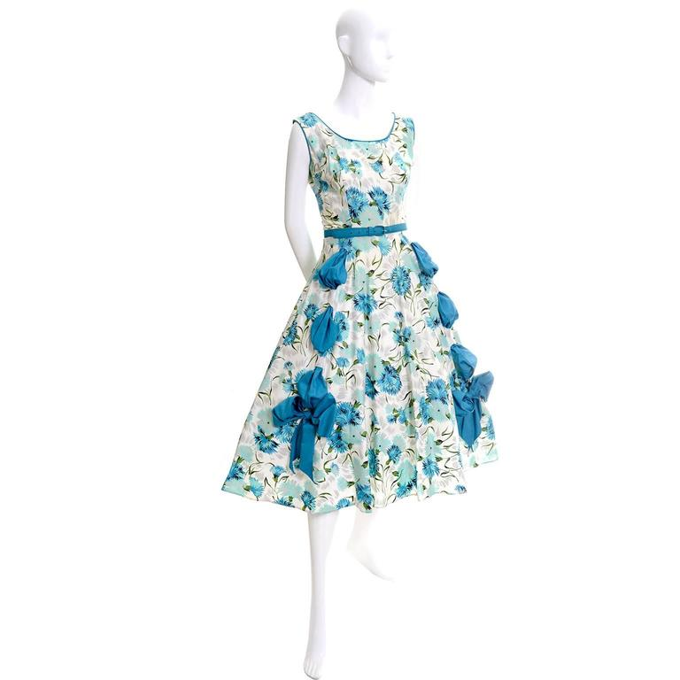 Gray 1950s Blue Floral Vintage Dress Rhinestones Bows 50s Full Skirt Size 6/8 For Sale