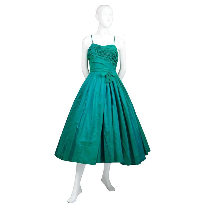 Sensational 1950s Vintage Dress Iridescent Green Pleating Bow 2/4 2