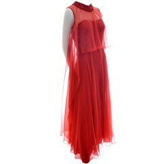 1970s Mike Benet Vintage Dress in Lipstick Red With Sequins & Sheer Overlay