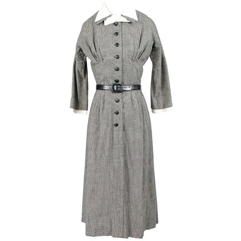 Mollie Parnis VIntage Dress 1951 Documented Hapers Bazaar Black White Check
