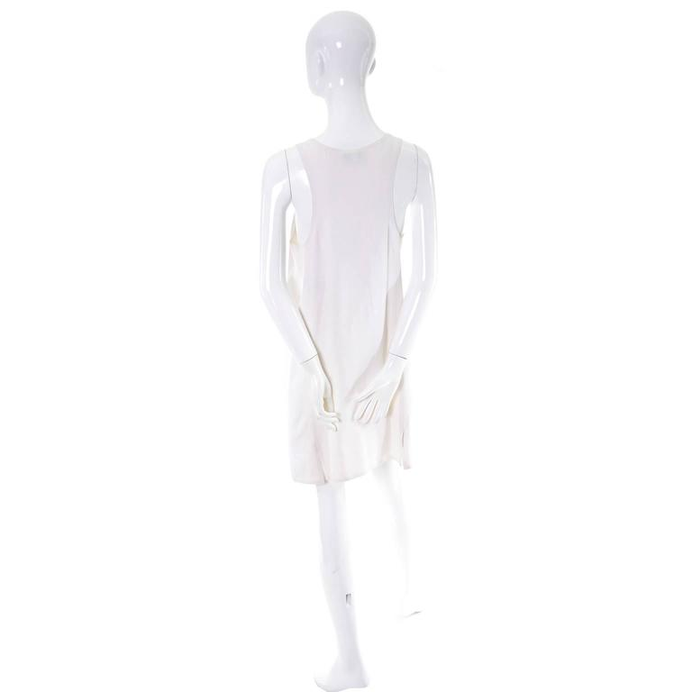 1990s Donna Karan Vintage Ivory Racer Back Dress and Coat Suit Ensemble In Excellent Condition For Sale In Portland, OR