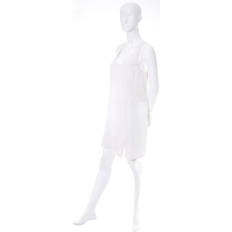1990s Donna Karan Vintage Ivory Racer Back Dress and Coat Suit Ensemble 5