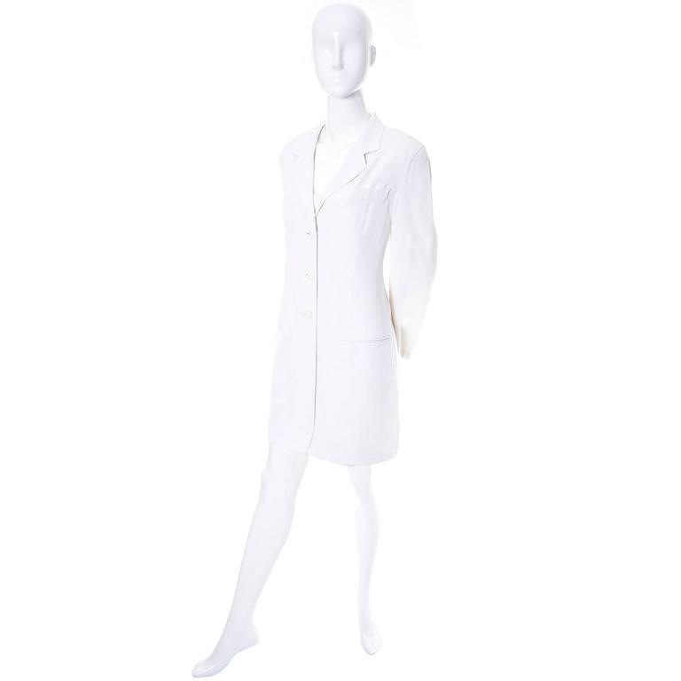 Gray 1990s Donna Karan Vintage Ivory Racer Back Dress and Coat Suit Ensemble For Sale