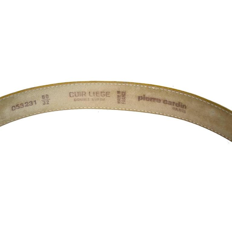 Beige Pierre Cardin Vintage Leather Belt Rare Yellow Made in France Black Logo Buckle For Sale