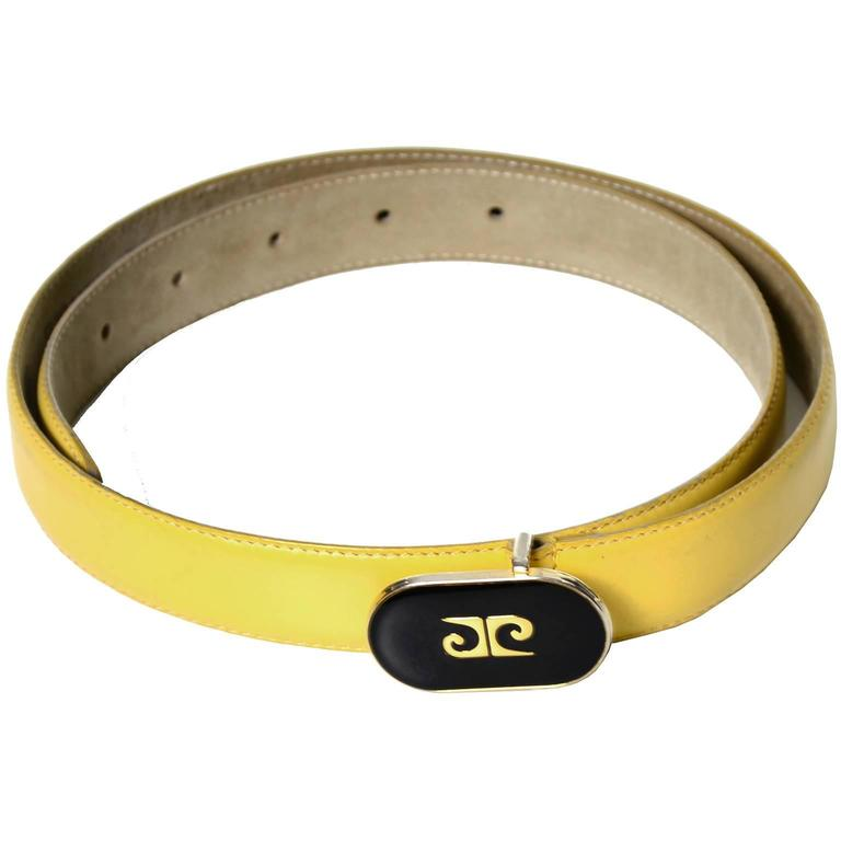 Pierre Cardin Vintage Leather Belt Rare Yellow Made in France Black Logo Buckle In Excellent Condition For Sale In Portland, OR