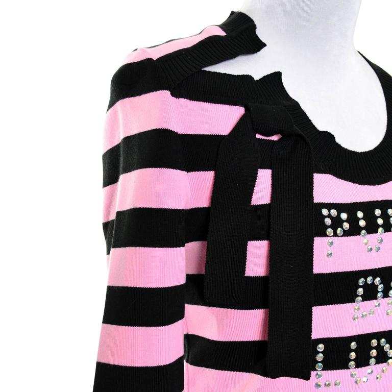 Pink Rare 1980s Vintage Sonia Rykiel Pull de Luxe Rhinestone Striped Sweater Top M/L For Sale