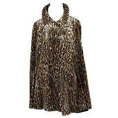 Harolde's Vintage Leopard Faux Fur Cape 1960s Chic Outerwear S/M