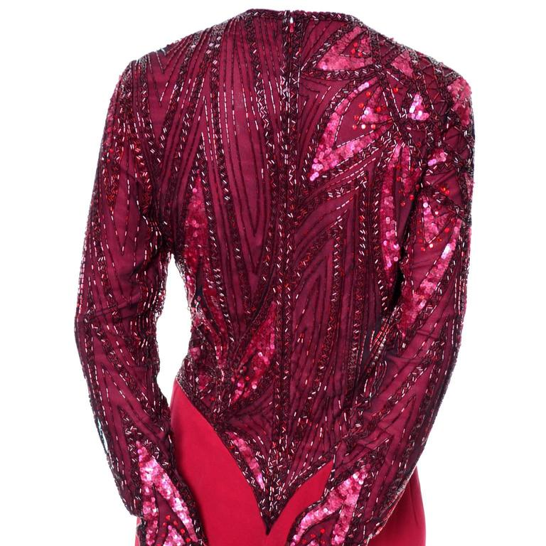 1980s Bob Mackie Boutique Vintage Dress Red Silk Beaded Sequins Rhinestones 4 For Sale 2