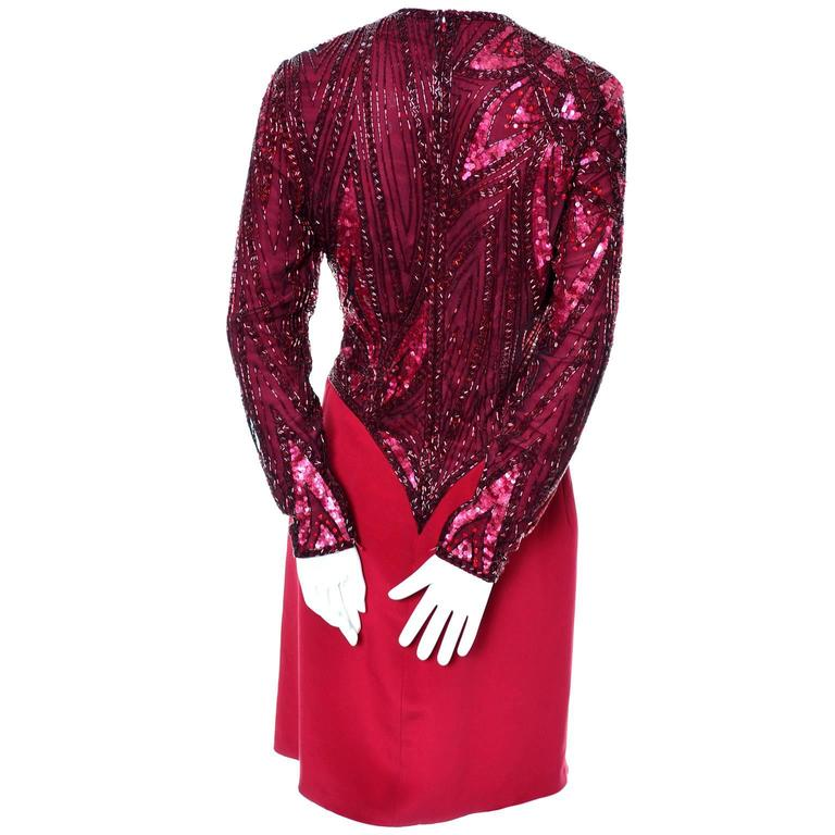 1980s Bob Mackie Boutique Vintage Dress Red Silk Beaded Sequins Rhinestones 4 For Sale 5