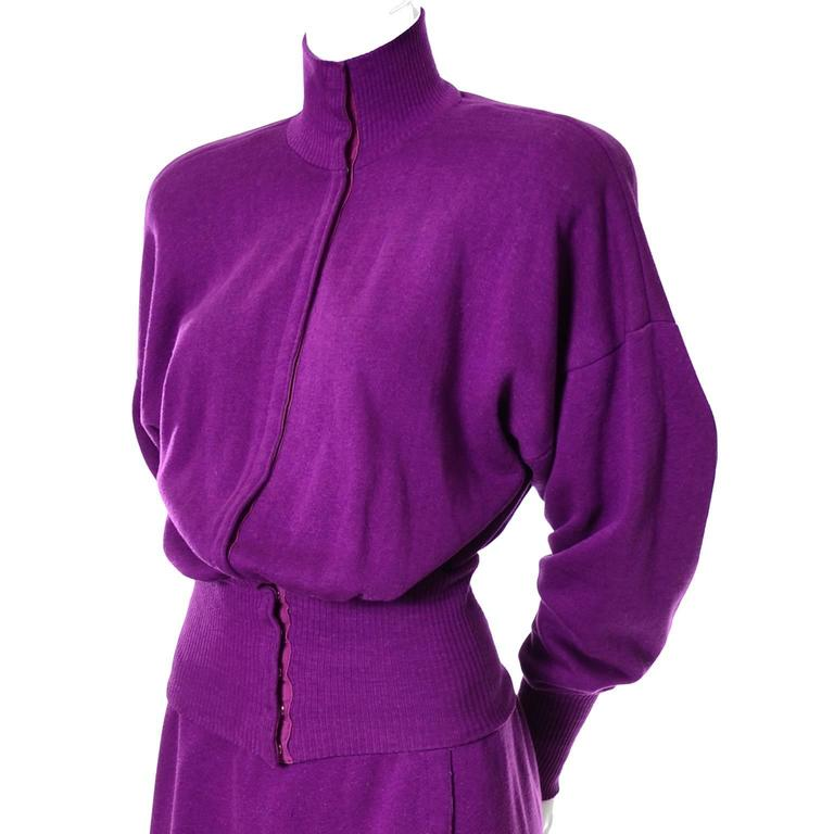 This is an iconic vintage 2 piece dress from Norma Kamali from the 1980's.  Norma Kamali was the first designer to so cleverly use sweatshirt or fleece fabric in modern chic pieces.  This 2 piece dress is one of her early 1980's designs and it