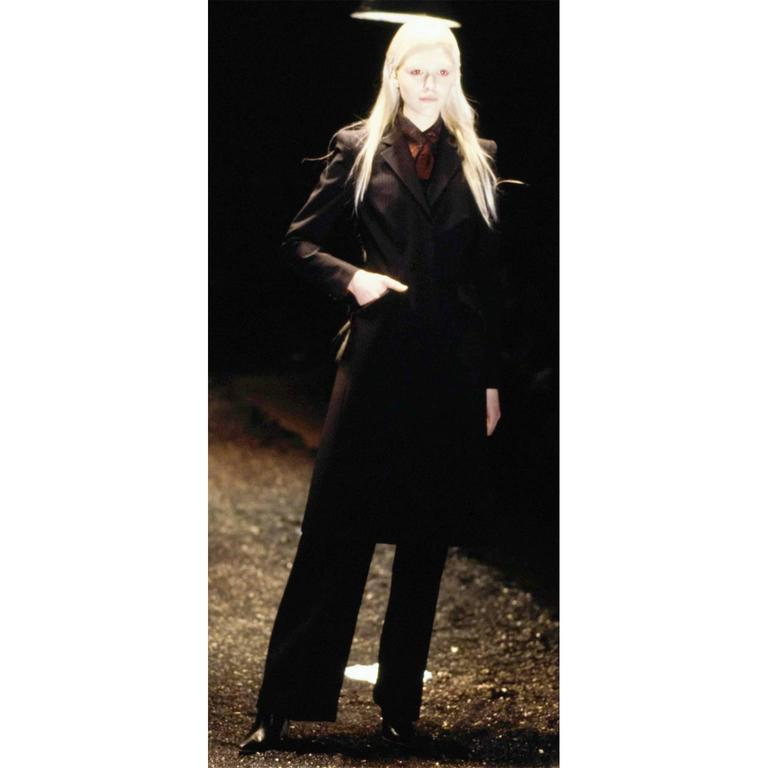 Black Alexander McQueen Joan of Arc Vintage Coat Pant Suit with Red Lining, 1998  For Sale