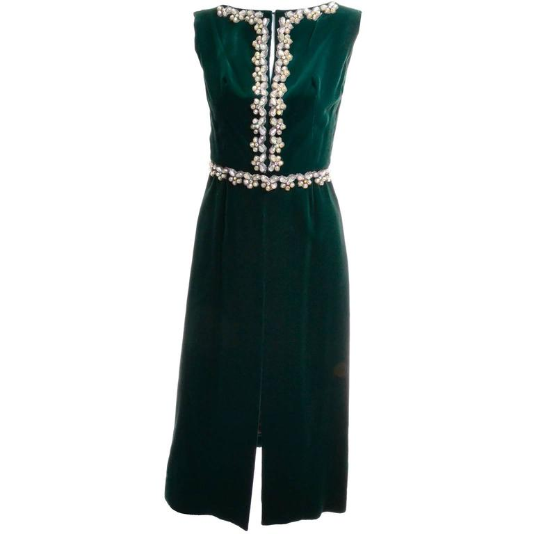 Luxe Holiday Green Velvet Beaded Dress with Rhinestones 1960s XS ...